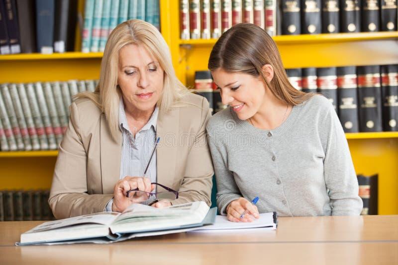 Lehrer-Explaining Student In-College-Bibliothek lizenzfreie stockfotos