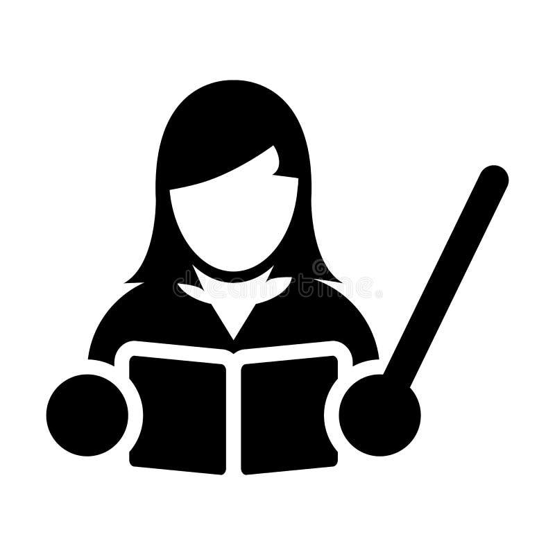 Lehrer Icon Vector Female Person Profile Avatar mit einem Buch in der Glyph-Piktogramm-Symbolillustration vektor abbildung