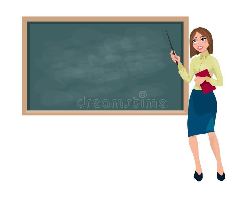 Lehrer mit einem Zeiger nahe der Schulbeh?rde lizenzfreie abbildung