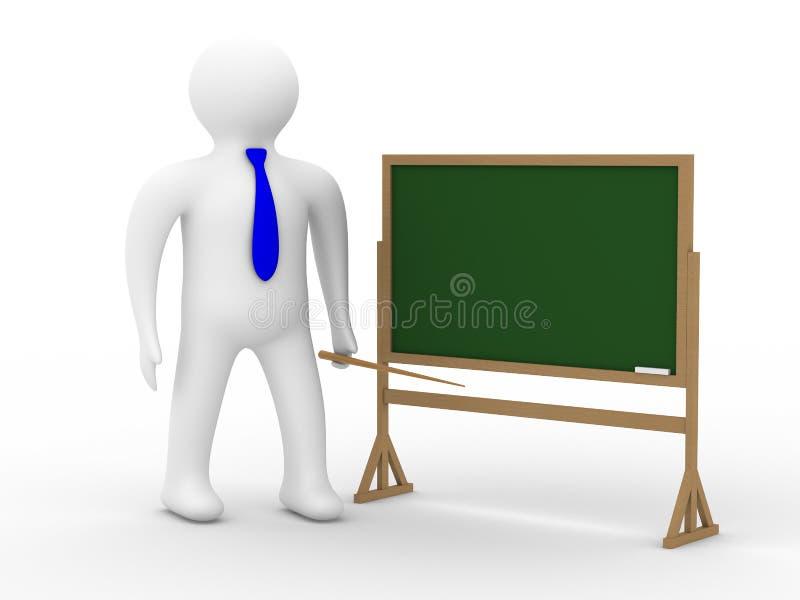 Lehrer mit einer Nadelanzeige an einer Tafel. lizenzfreie abbildung