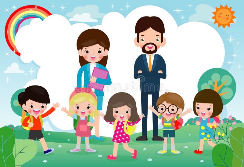 Lehrer mit Kindern auf Sommerwiese, zurück zu Schuleschablone für Werbungsbroschüren-Vektorillustration lizenzfreie abbildung