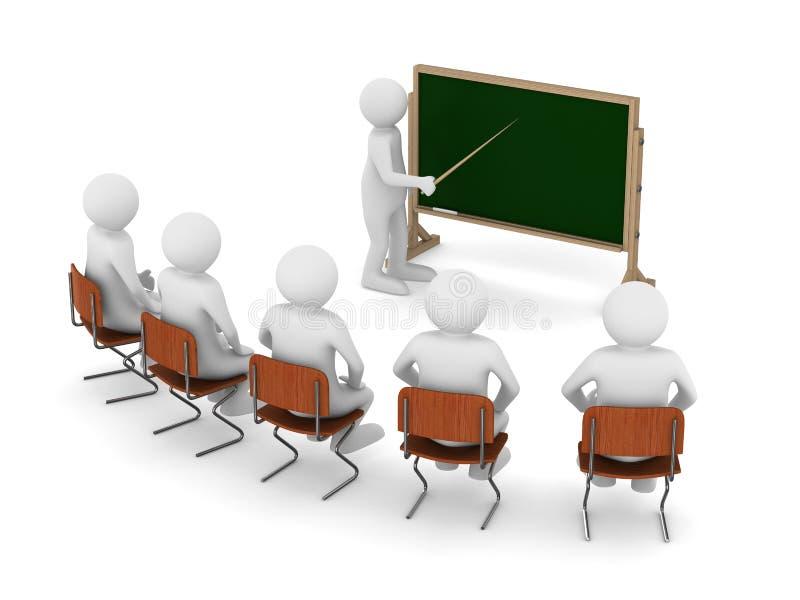Lehrer mit Nadelanzeige an der Tafel stock abbildung