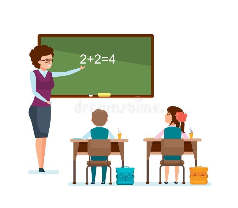 Lehrer sagt Schulmaterial, erklärt Entscheidung, Schulkinder notieren Informationen lizenzfreie abbildung