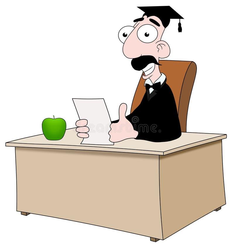 Lehrer am Schreibtisch lizenzfreie abbildung