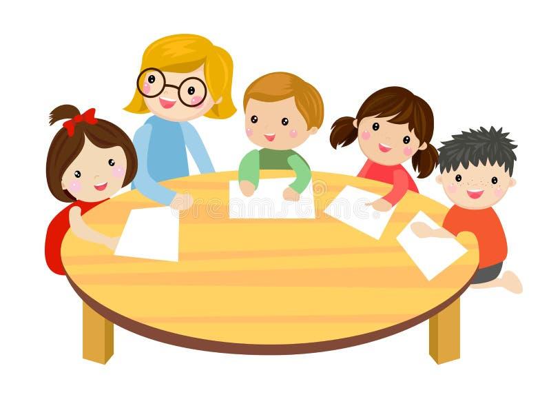 Lehrer und Kinder stock abbildung