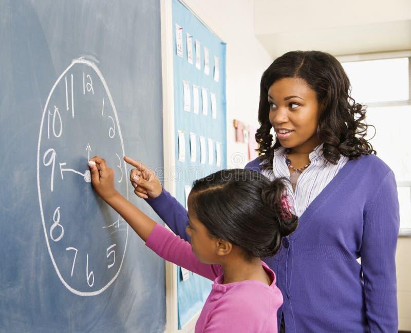 Lehrer und Kursteilnehmer an der Tafel stockbilder