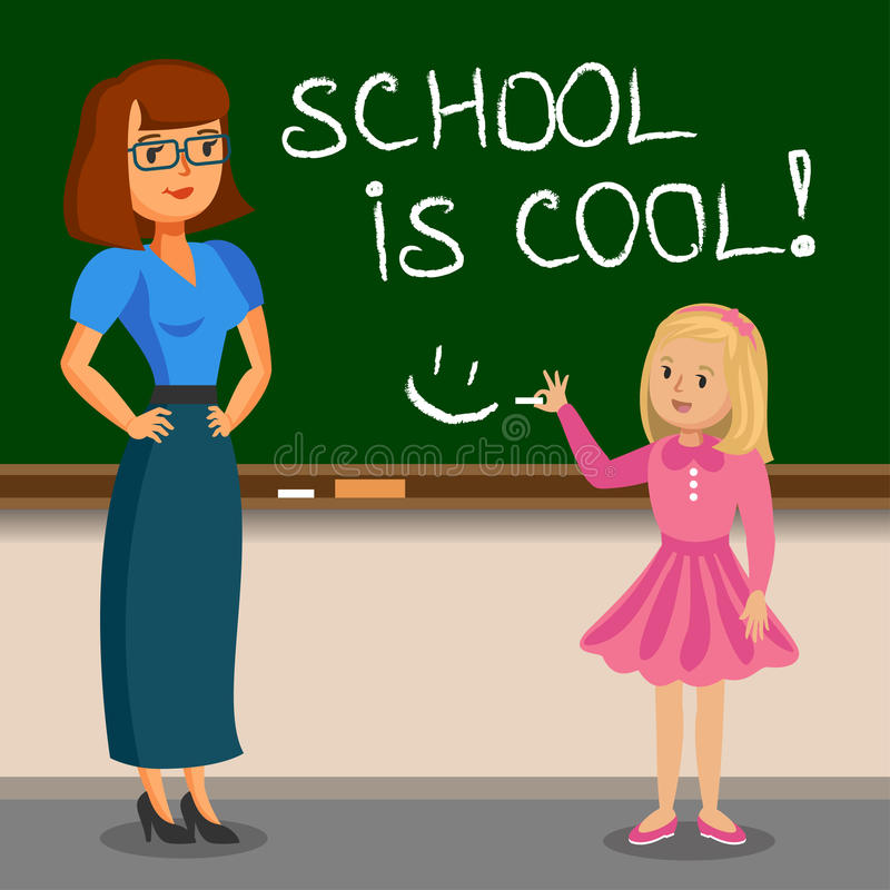 Lehrer- und Schulmädchenschreiben auf Kreidebrett Zurück zu Schule lizenzfreie abbildung