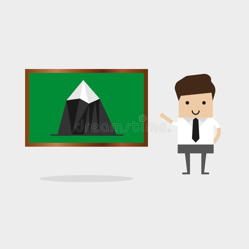 Lehrer zeigt Zeiger auf der Karte Berge, Geografielektion Flacher Entwurf, Vektorillustration vektor abbildung
