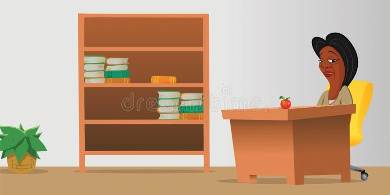 Lehrerklassenzimmerbücherschrank stock abbildung