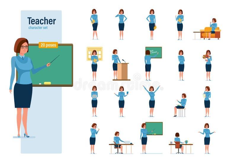Lehrerzeichensatz Junger Lehrer in den verschiedenen Situationen und in den Einstellungen vektor abbildung