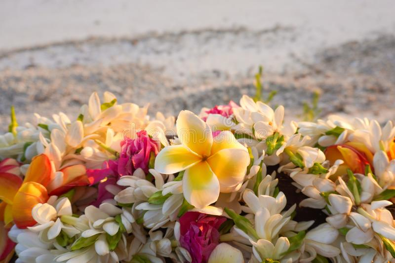 A lei of beautiful tropical flowers rests on a railing above a white sandy beach. With space for copy stock photography