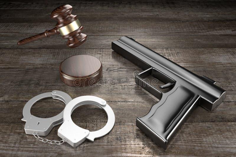 Lei 3D, conceito de crime - algemas, armas, fundo de madeira ilustração royalty free