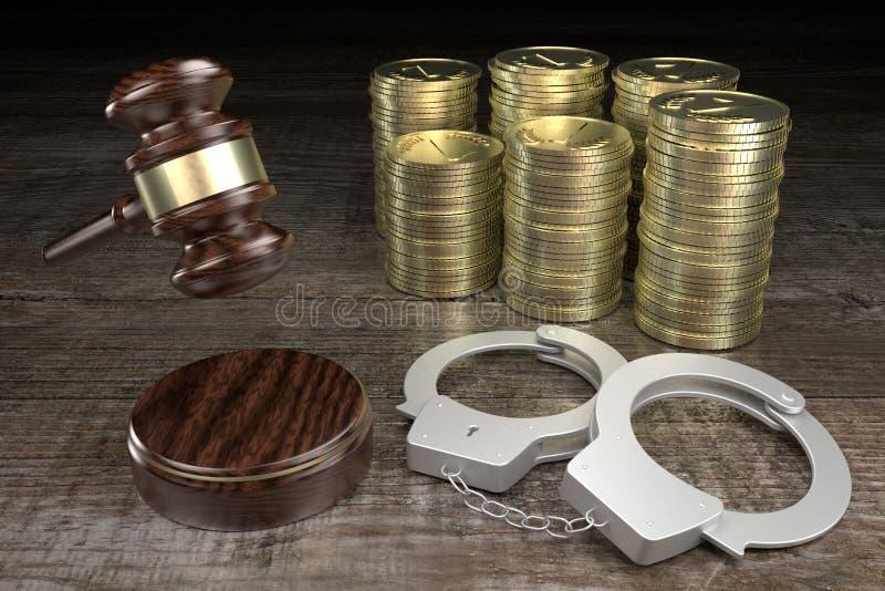Lei 3D, conceito de crime - algemas, dinheiro, fundo de madeira ilustração stock