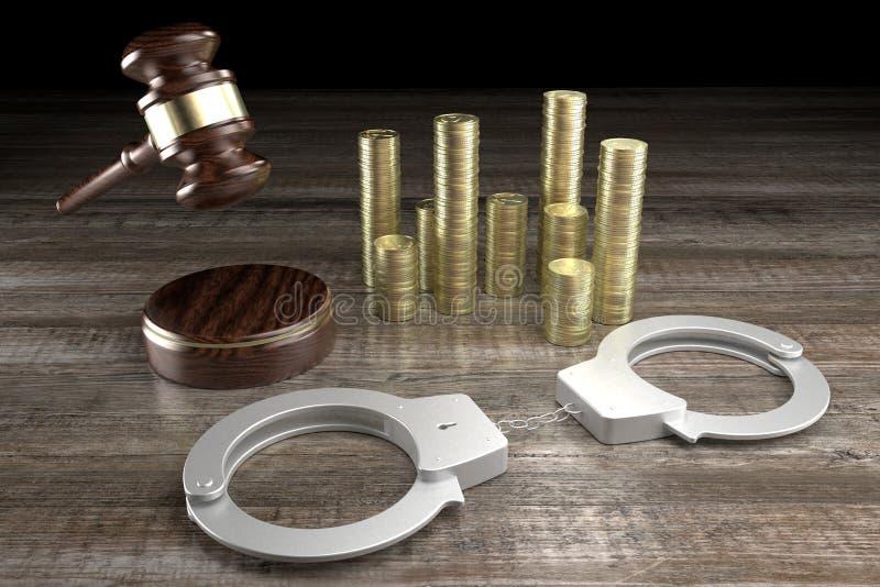 Lei 3D, conceito de crime - algemas, dinheiro, fundo de madeira ilustração do vetor
