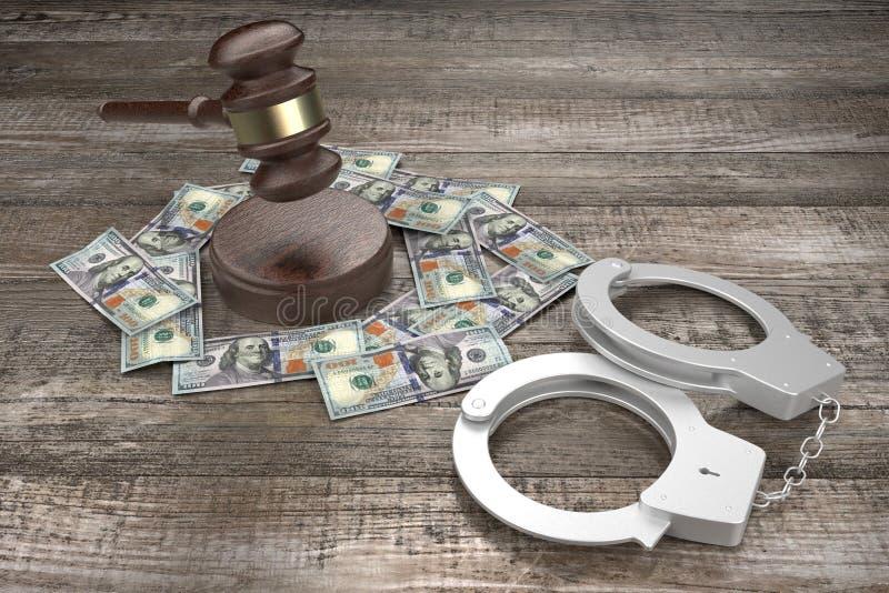Lei 3D, conceito de crime - algemas, notas de cem dólares ilustração stock