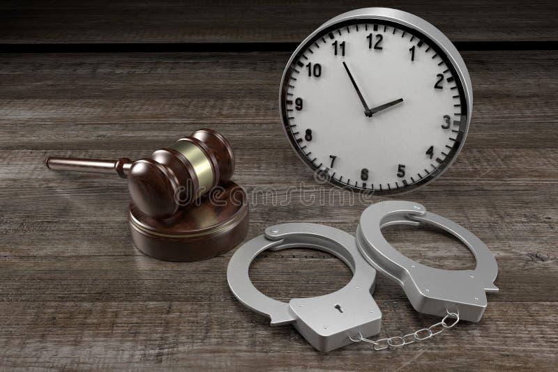 Lei 3D, crime, conceito de sentença - algemas, relógio ilustração stock