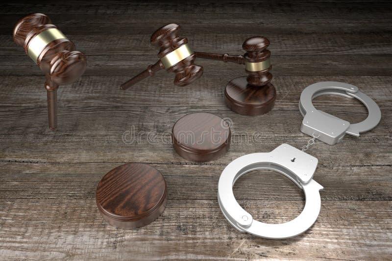 Lei 3D, crime, conceito de veredicto - algemas, fundo de madeira ilustração stock