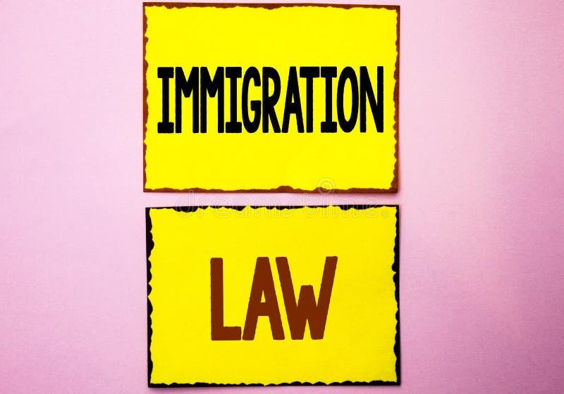 Lei da imigração do texto da escrita da palavra Conceito do negócio para regulamentos nacionais para as regras da deporta16cao do fotos de stock royalty free