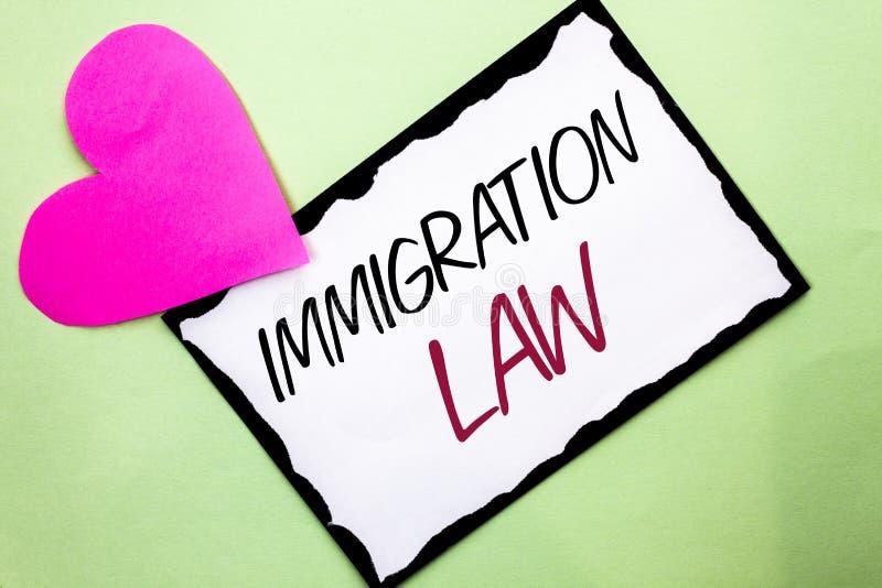 Lei da imigração da escrita do texto da escrita Conceito que significa regulamentos nacionais para as regras da deporta16cao dos  fotos de stock