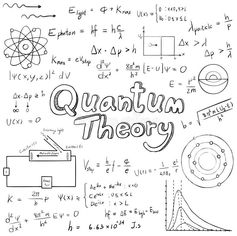 A lei da teoria de quantum e a equação da fórmula matemática da física, fazem ilustração royalty free