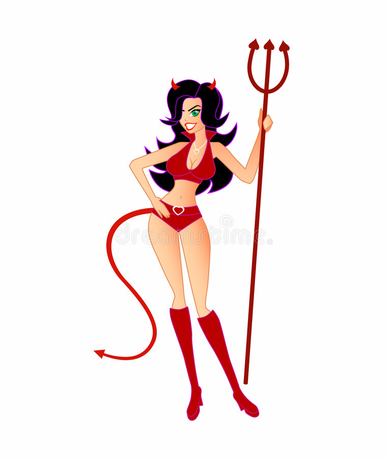 Lei-Diavolo caldo e sexy (isolato) illustrazione di stock