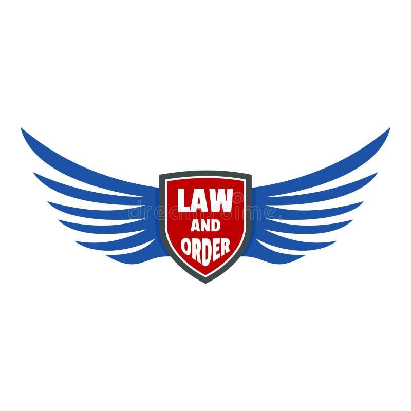 Lei dos EUA e ícone do logotipo da ordem, estilo liso ilustração stock