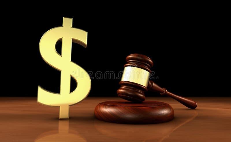 Lei e dólares do custo do símbolo de justiça Concept ilustração stock