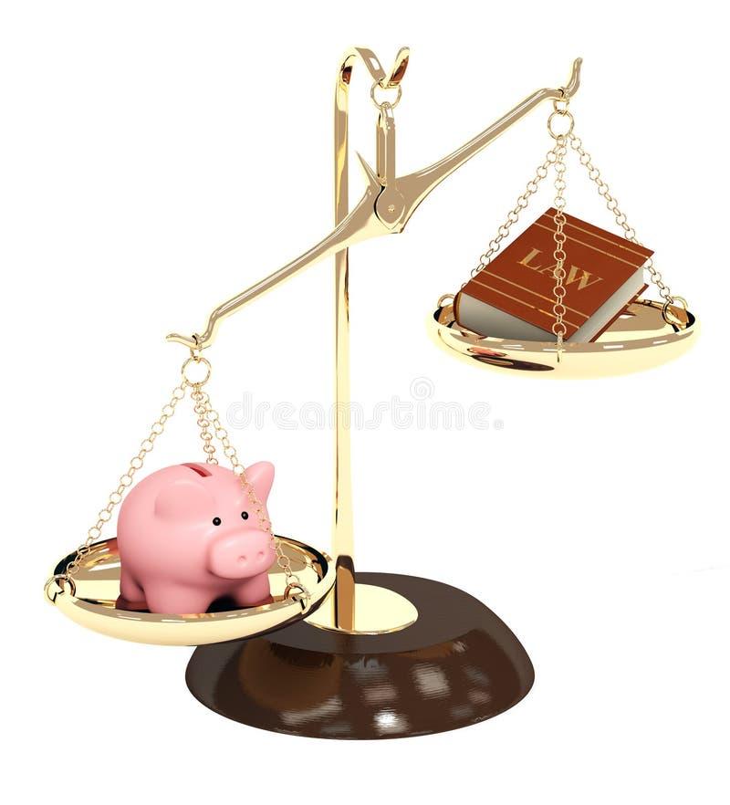Lei e dinheiro ilustração do vetor