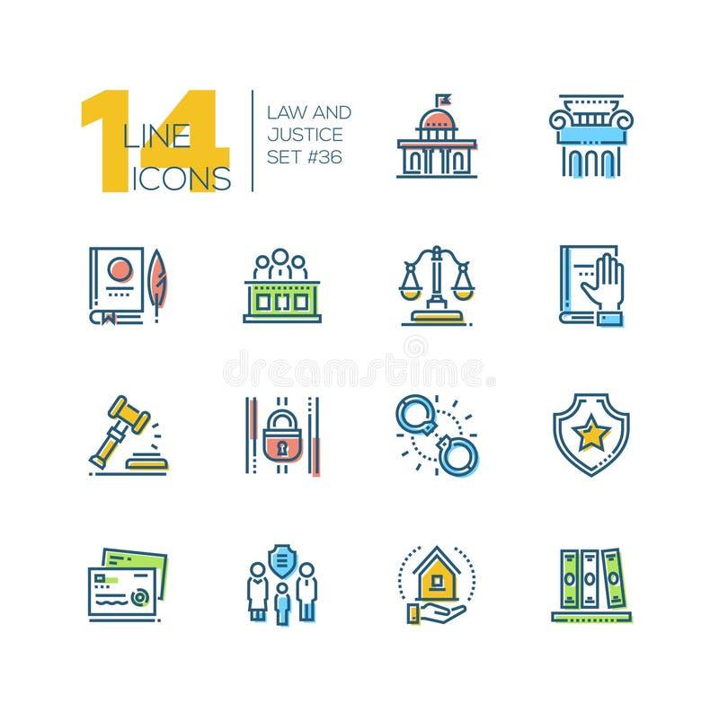 Lei e justiça - grupo de linha ícones do estilo do projeto ilustração royalty free