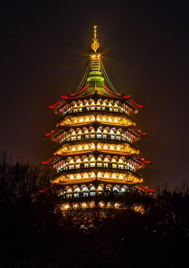 Lei Feng Pagoda Night West Lake Hangzhou Zhejiang China stock image