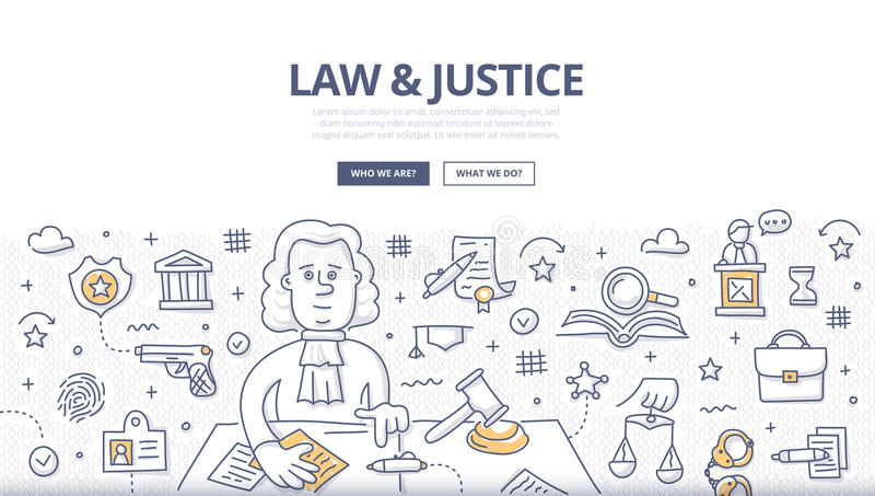 Lei & justiça Doodle Concept ilustração stock