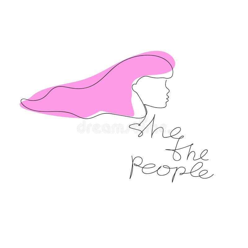Lei lo slogan della gente con la stampa disegnata a mano della maglietta del fronte delle donne royalty illustrazione gratis