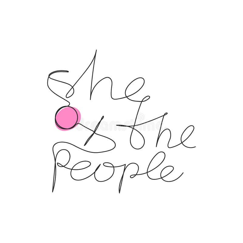 Lei lo slogan della gente con la stampa disegnata a mano della maglietta del simbolo delle donne illustrazione vettoriale