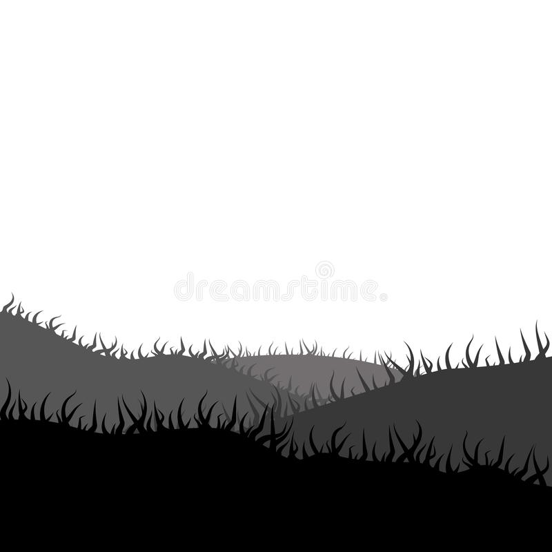 Lei, prado, silhueta do grama-lote ilustração royalty free