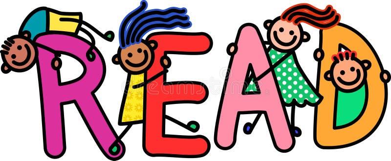 Leia o texto do título das crianças ilustração royalty free