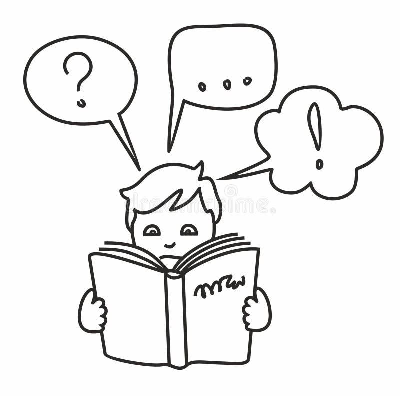 Leia um livro, obtenha a informação, perguntas, respostas, pensamentos, desenho de esboço ilustração royalty free