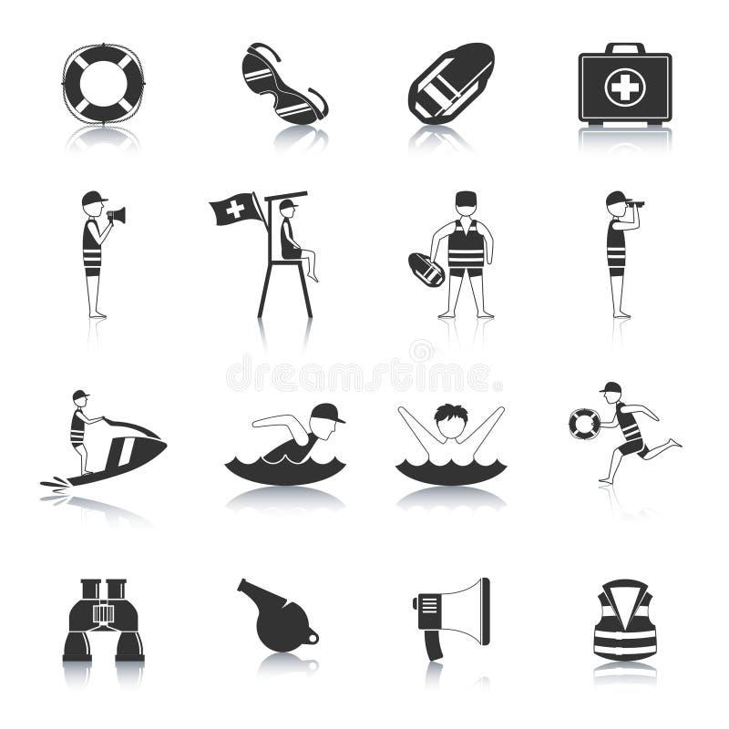 Leibwächter Black Icons Set vektor abbildung