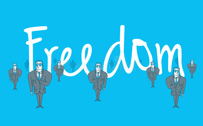 Leibwächter, die Freiheitswortsafe schützen lizenzfreie abbildung