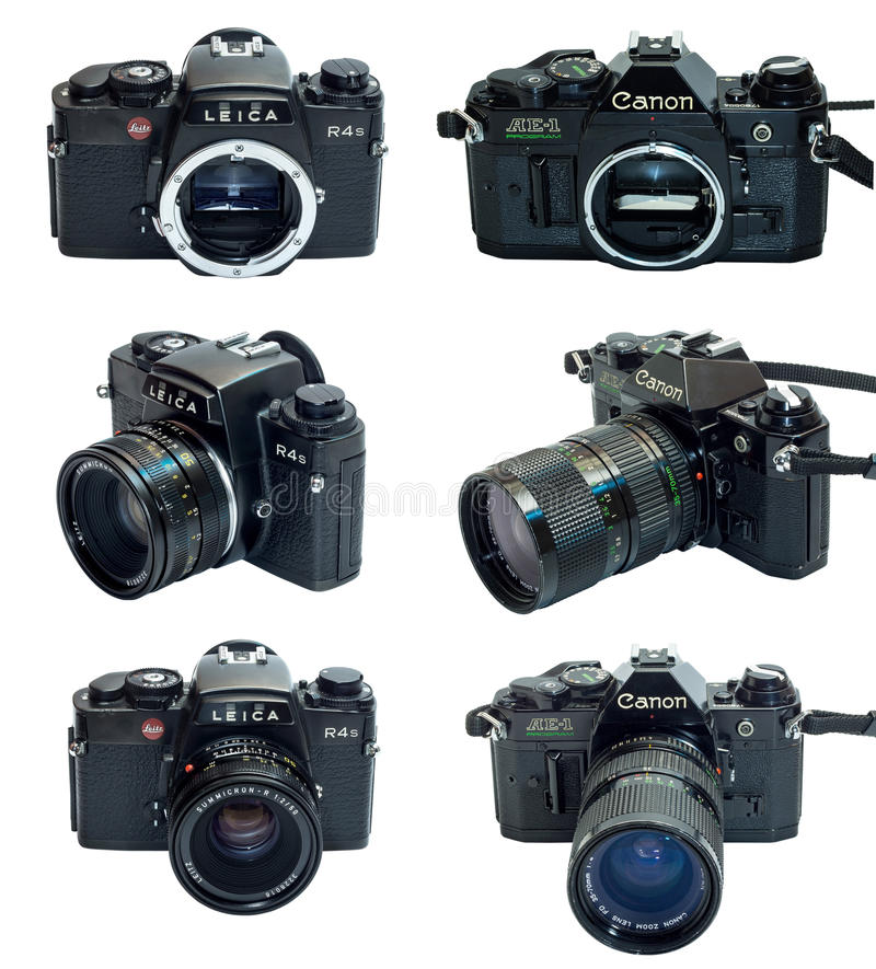 Leica R4S en Canon VE-1 die camera van Programmaslr in veelvoudige mening wordt geïsoleerd stock foto