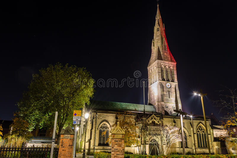 Leicester Cathedral by night. ENGLAND, LEICESTER - 01 NOV 2015: Leicester Cathedral by night stock photo