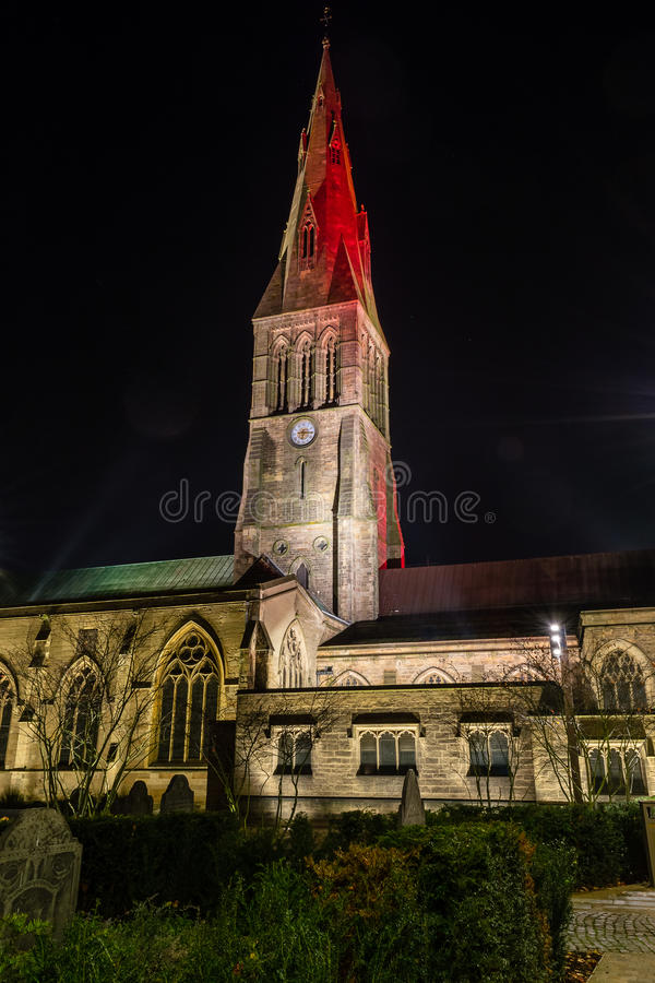 Leicester Cathedral by night Tower. ENGLAND, LEICESTER - 01 NOV 2015: Leicester Cathedral by night Tower stock images