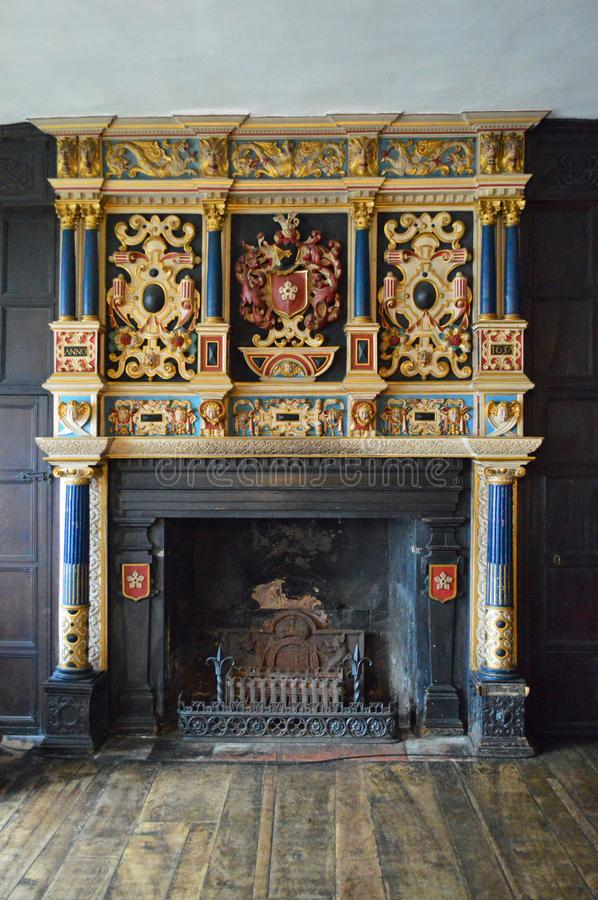 Leicester - The Guildhall - ornate fireplace stock photo