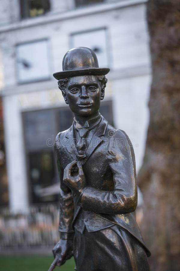 Leicester Square, London, Greater London, 7th February 2019, Statue of Sir Charles Chaplin. Leicester Square, London, Greater London, 7th February 2019, Statue royalty free stock photo