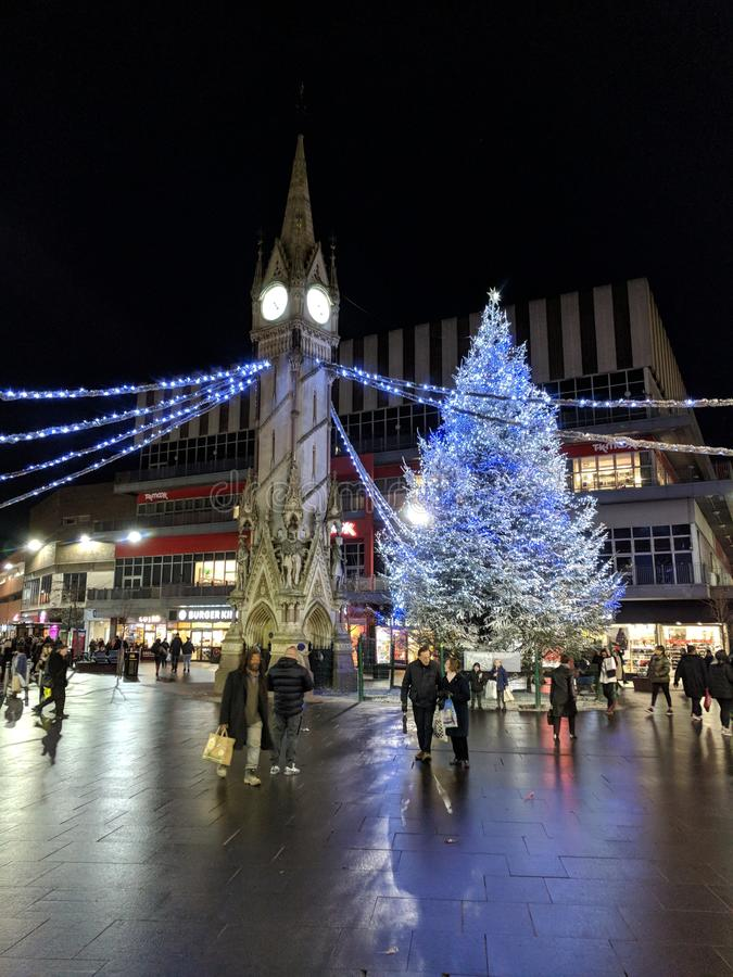Leicester town Christmas Tree 2017 royalty free stock photo