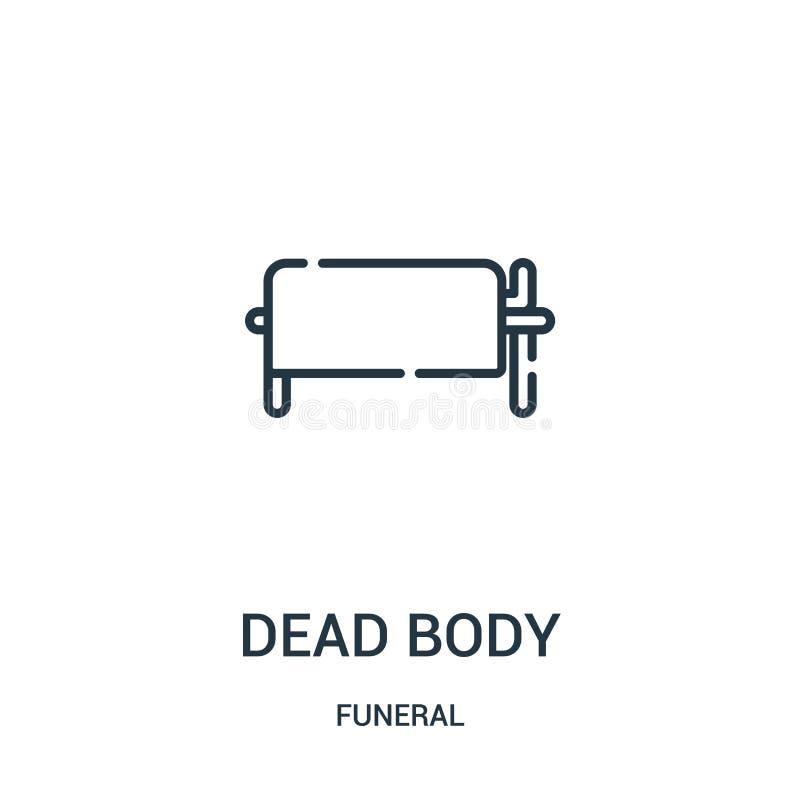 Leichenikonenvektor von der Begräbnis- Sammlung Dünne Linie Leichenentwurfsikonen-Vektorillustration Lineares Symbol für Gebrauch vektor abbildung