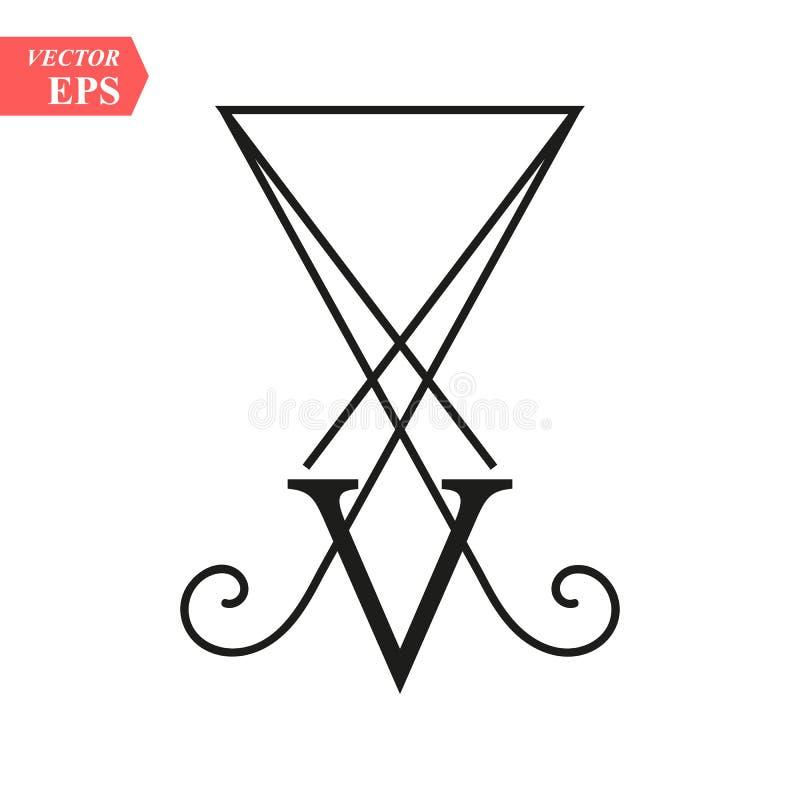 Leicht-holendes LUCIFER, sigil von Lucifer-Symbol auf weißem Hintergrund eps10 stock abbildung