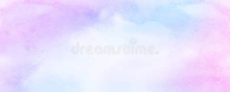 Leichter blauer, purpurroter und rosa Schattenaquarellhintergrund f?r Weinlesekarte, Retro- Schablone stockfoto