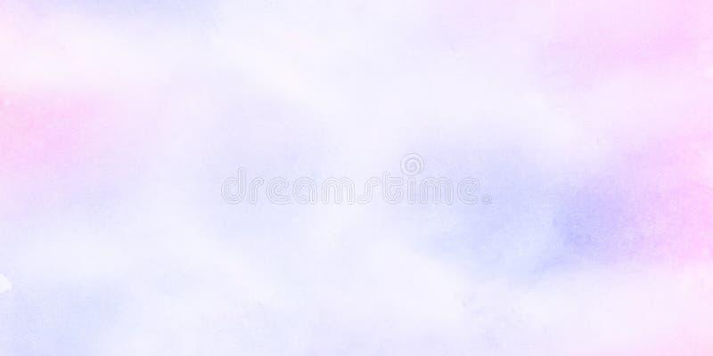 Leichter blauer, purpurroter und rosa Schattenaquarellhintergrund f?r Weinlesekarte, Retro- Schablone stockbild