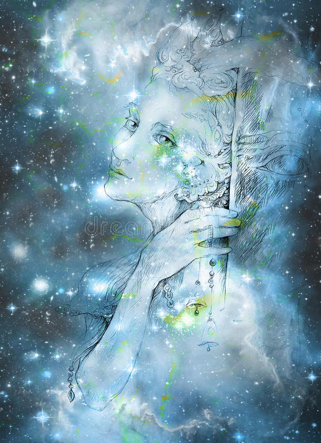 Leichter elve Geist, der oben dem starlitt Himmel, Illustration betrachtet vektor abbildung