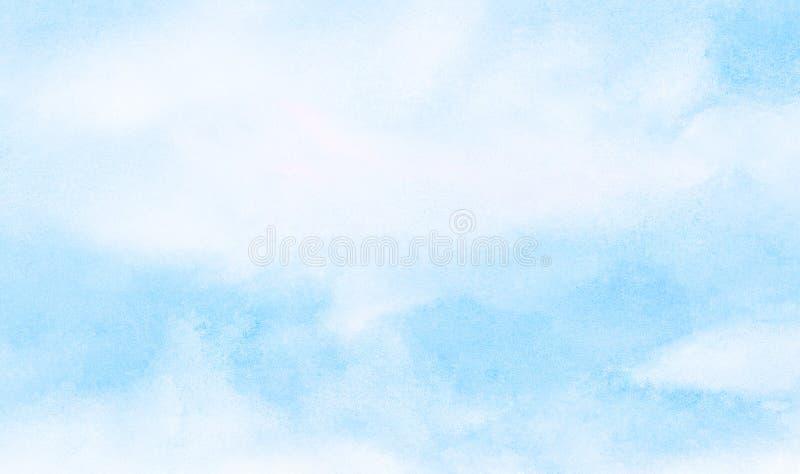 Leichter heller Himmelblau-Farbaquarellhintergrund Subtiles Aquarell malte strukturiertes Papiersegeltuch für Weinleseentwurf stockfoto